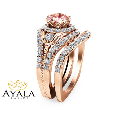 Peach Pink Morganite Bridal Set 14K Rose Gold Engagement Rings Art Deco Morganite Ring Set