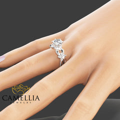 Nature Inspired Moissanite Engagement Ring 14K White Gold Moissanite Ring Floral Engagement Ring