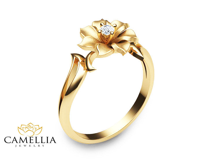 14k yellow gold flower ring unique diamond engagement ring leaf and 14k yellow gold flower ring unique diamond engagement ring leaf and flower solitaire ring nature inspired mightylinksfo