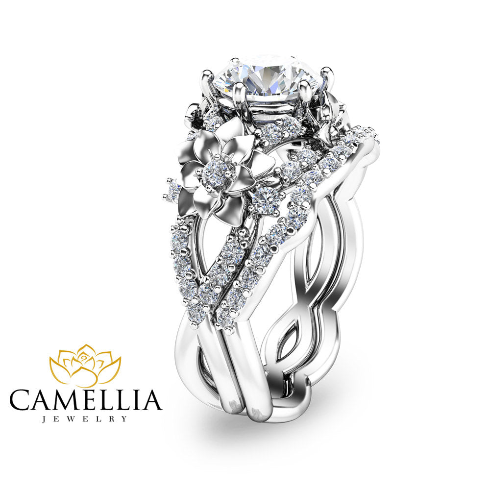 unique il moissanite floral set gold fullxfull products tone flower ring two ar rings engagement camellia