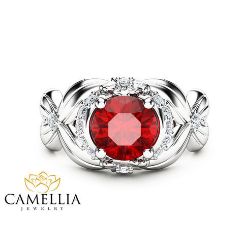 Floral Natural Ruby Engagement Ring 14K White Gold Ruby Ring Halo Engagement Ring Unique Flower Ring