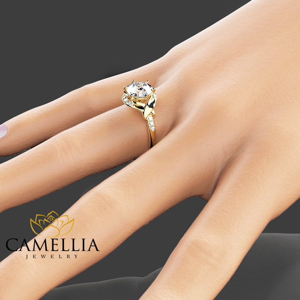 14K Yellow Gold Moissanite Engagement Ring Wedding Engagement Ring Unique 2Ct Moissanite Ring