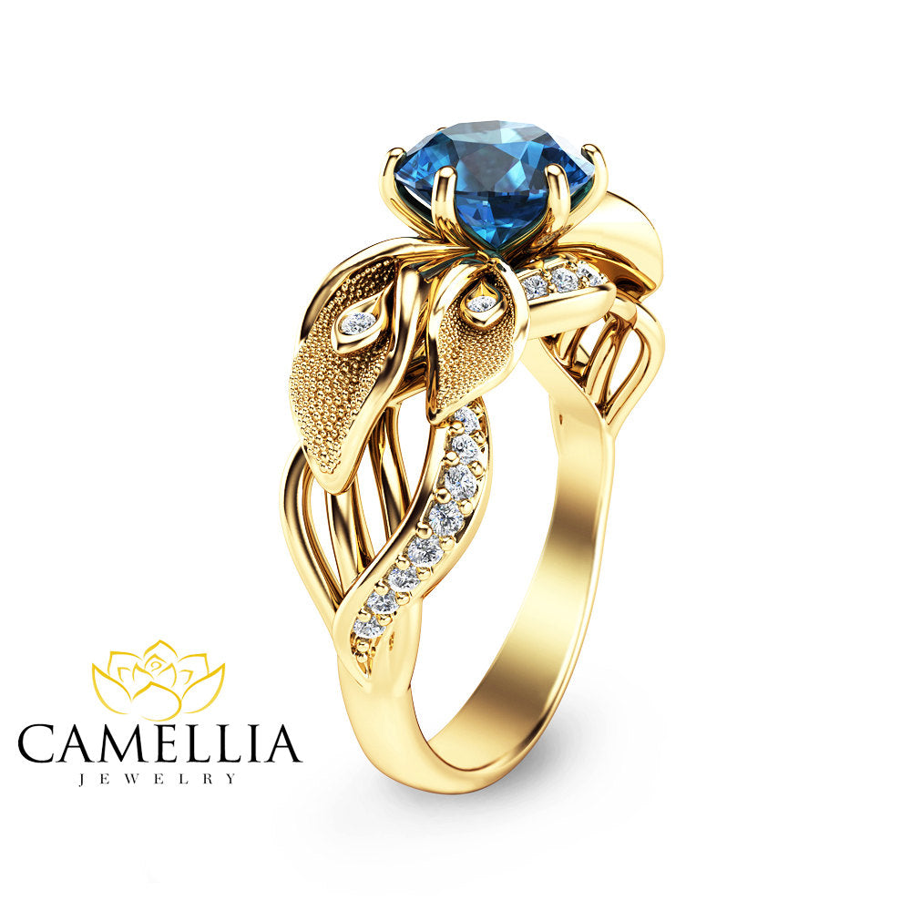 media leaf engagement ring blue diamonds lily delicate vintage unique art deco flower sapphire rings and
