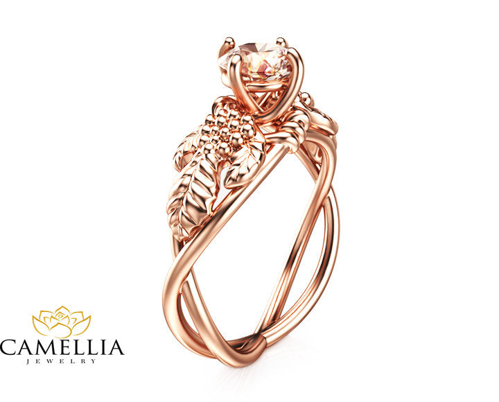 Wedding and Vine Band Morganite Engagement Ring in 14K Rose Gold