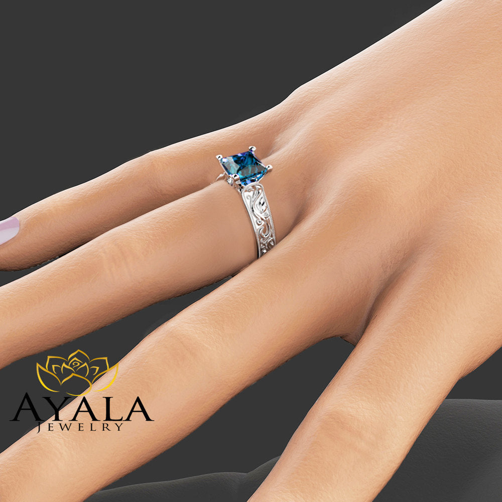 Princess Cut Blue Topaz Ring in 14K White Gold Unique 2 Carat Topaz  Ring  Princess Cut Engagement Ring Art Deco Ring