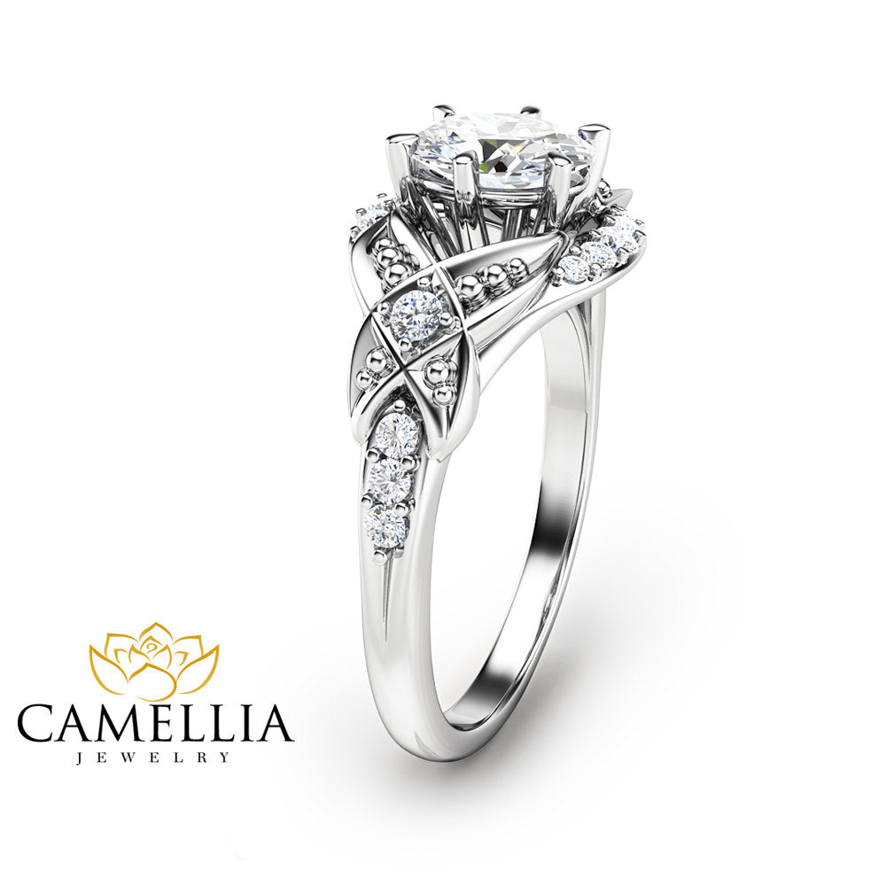 IGL Diamond Ring White Gold Engagement Ring Oval Shape Diamond Ring Conflict Free Promise Ring Camellia Jewelry