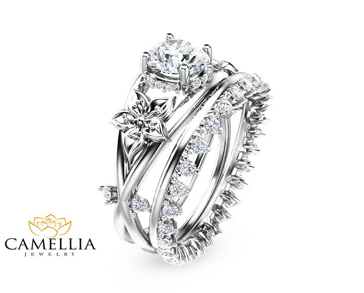 Moissanite Flower Engagement Ring Set 14k White Gold Flower Ring