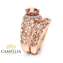 Peach Pink Morganite Engagement Ring Set Unique Morganite Wedding Ring Set 14K Rose Gold Art Deco Rings Filigree Rose Gold Rings