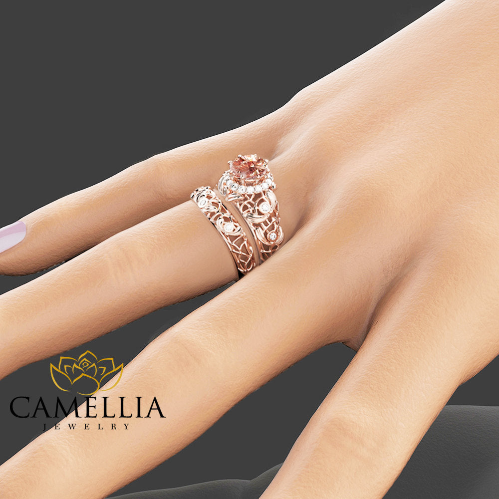Peach Pink Morganite Engagement Ring Set Unique Morganite Wedding