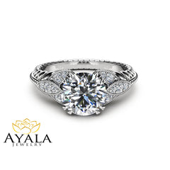 Round Moissanite Engagement Ring Unique 14K White Gold Ring Art Deco Styled Engagement Ring