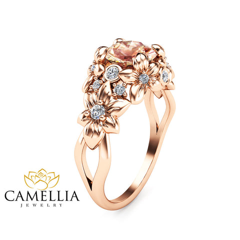 Floral Design Morganite Engagement Ring 14K Rose Gold Flower Ring  Unique Peach Pink Morganite Ring