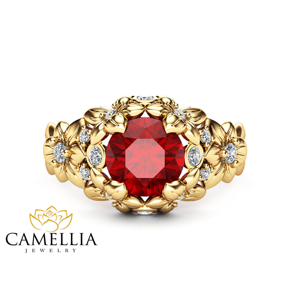 Ruby Floral Engagement Ring 14k Yellow Gold Floral Ring Unique Ruby Engagement  Ring Art Nouveau Styled