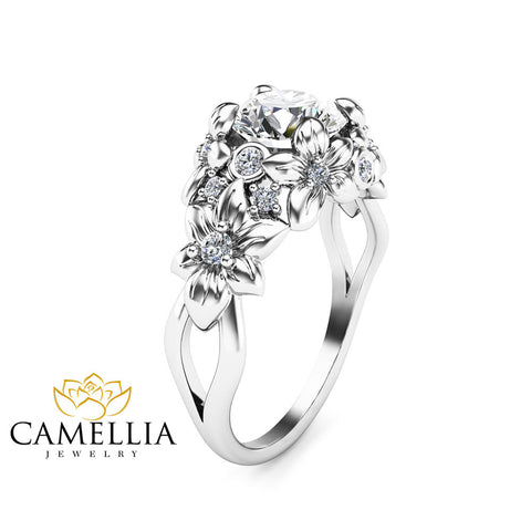 White Gold Moissanite Engagement Ring Floral  Ring Art Nouveau Moissanite Ring Anniversary gift