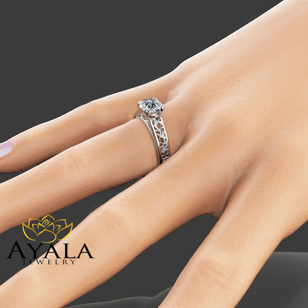 Unique Moissanite Engagement Ring 14K White Gold Engagement Ring Art Deco Moissanite Ring