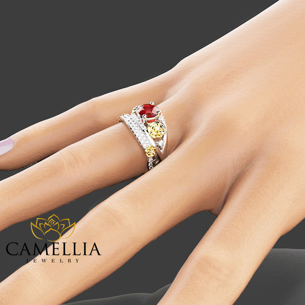 floral ruby engagement ring set 14k two tone gold rings natural ruby wedding ring set unique - Ruby Wedding Ring Sets