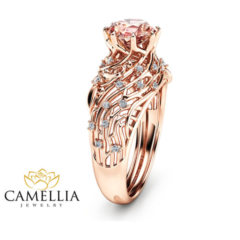 14K Rose Gold Morganite Engagement Ring Unique Filigree Design Ring Floral Rose Gold Engagement Ring Art Deco Styled Morganite Ring