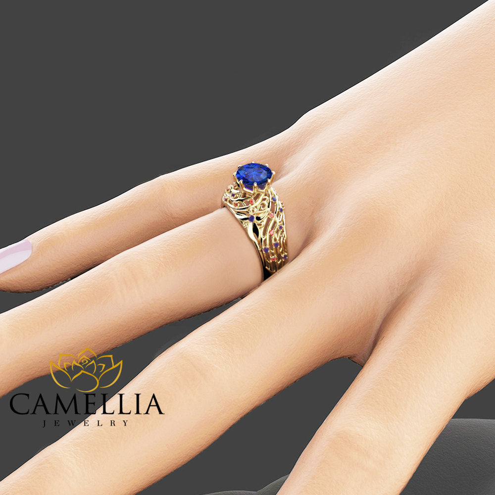 Unique Design Sapphire and Ruby Engagement Ring Filigree 14K Yellow Gold Ring Natural Sapphire and Ruby Ring Art Deco Engagement  Ring