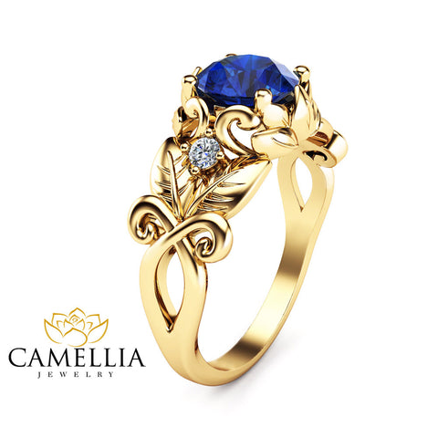 Blue Sapphire Wedding Engagement Ring 14K Yellow Gold Sapphire Ring Unique Wedding Engagement Ring