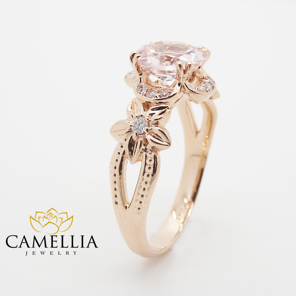 rings ring engagement morganite oval unique amazon handmade gold camellia rose com crvl dp