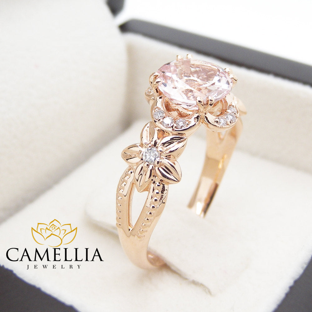 engagement promise oval carat diamond rose band ring gold halo morganite stacking