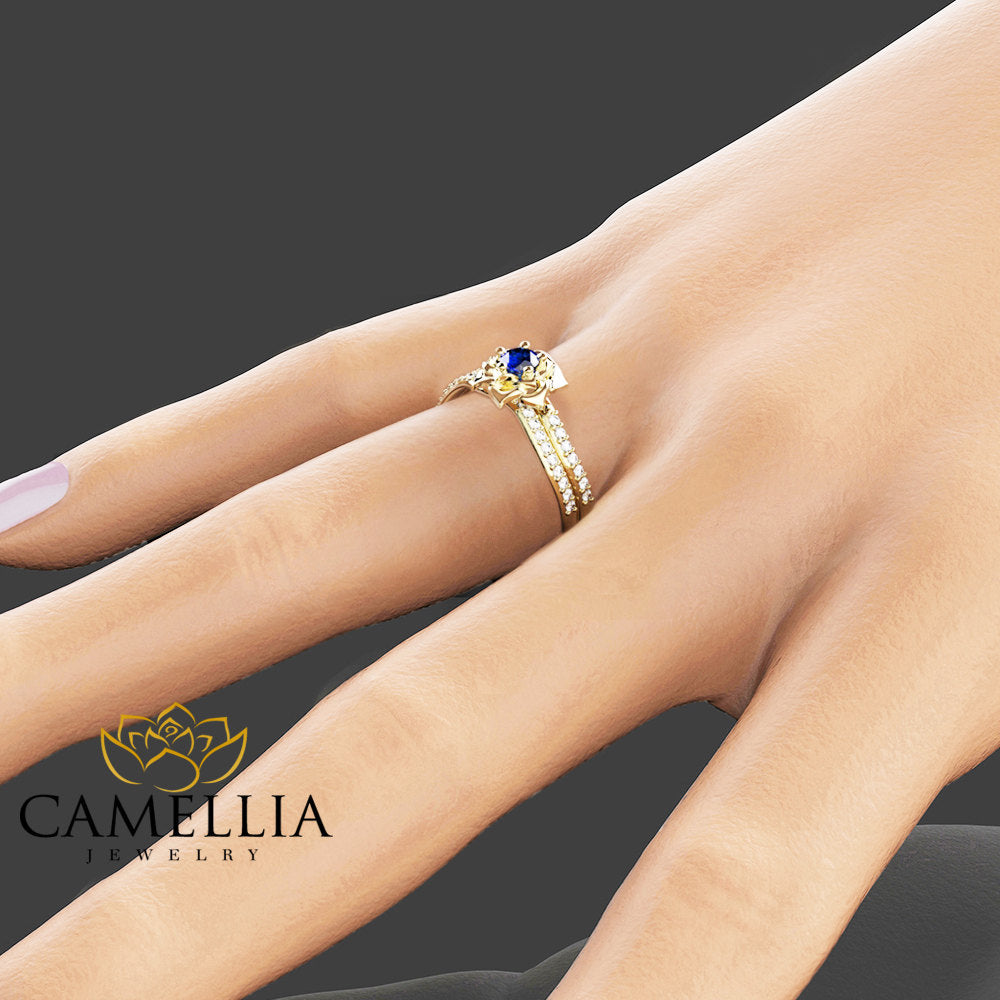Natural Blue Sapphire Engagement Ring Set 14K Yellow Gold Wedding Set  Flower Styled Sapphire Bridal Set