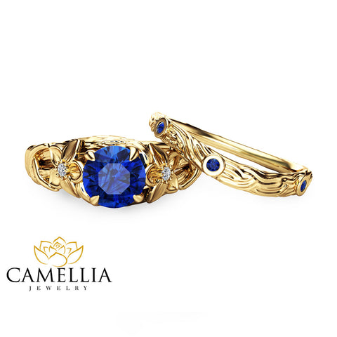 Blue Sapphire Engagement Ring Set Branch 14K Yellow Gold Unique Sapphire Engagement Set