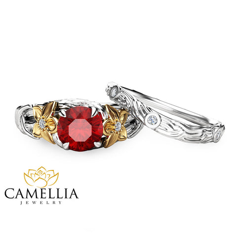 Ruby Engagement Ring Set Unique 14K Two Tone Gold Wedding Set  Branch Styled Engagement Set Flower Rings