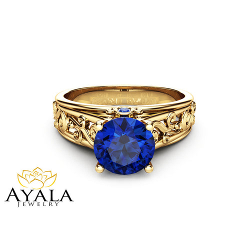 14K Yellow Gold Sapphire Engagement Ring Unique Blue Sapphire Ring Filigree Styled Engagement Ring