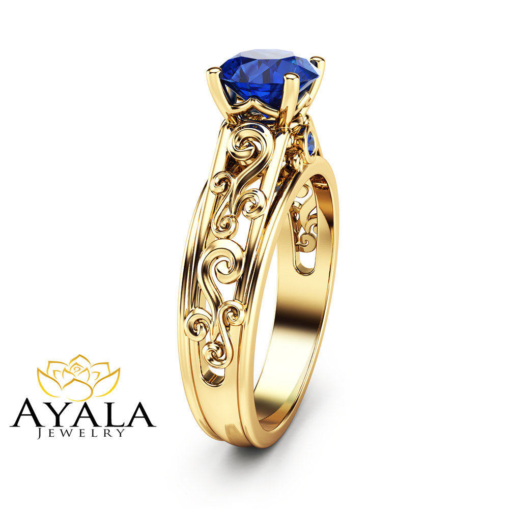 an gemstone blue fullxfull products unique natural sapphire engagement ring gold il yellow