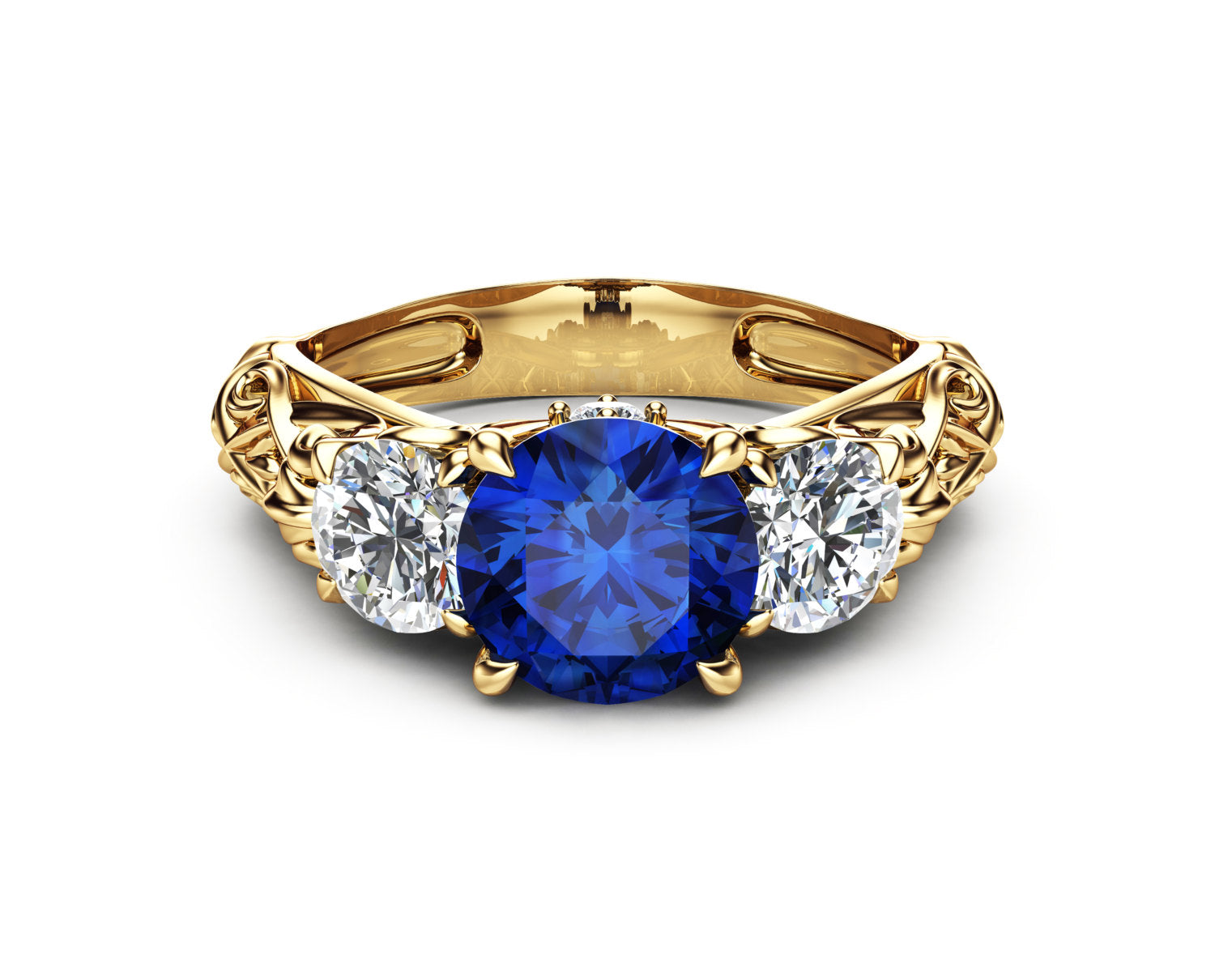 meteorite band and ring moissanite sapphire pin wedding blue engagement