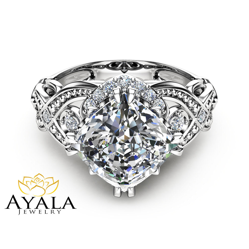 Cushion Cut 2 Carat Moissanite Ring 14K White Gold Engagement Ring Filigree Styled Ring Unique Cushion Cut Ring