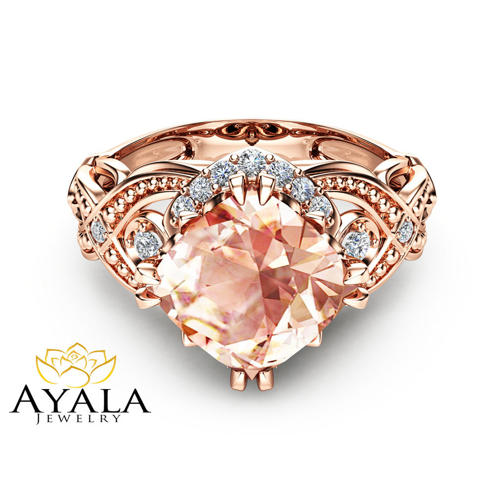 Cushion Cut Peach Pink Morganite Ring 14K Rose Gold Engagement Ring 2 Carat Morganite Ring Unique Cushion Cut Ring