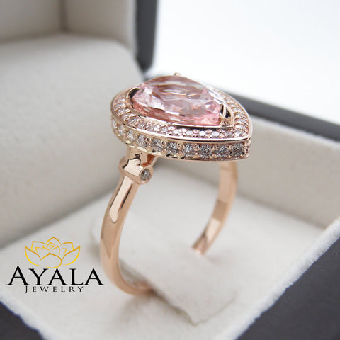 14K Rose Gold Morganite Ring Pear Cut Engagement Ring Unique Halo Engagement Ring