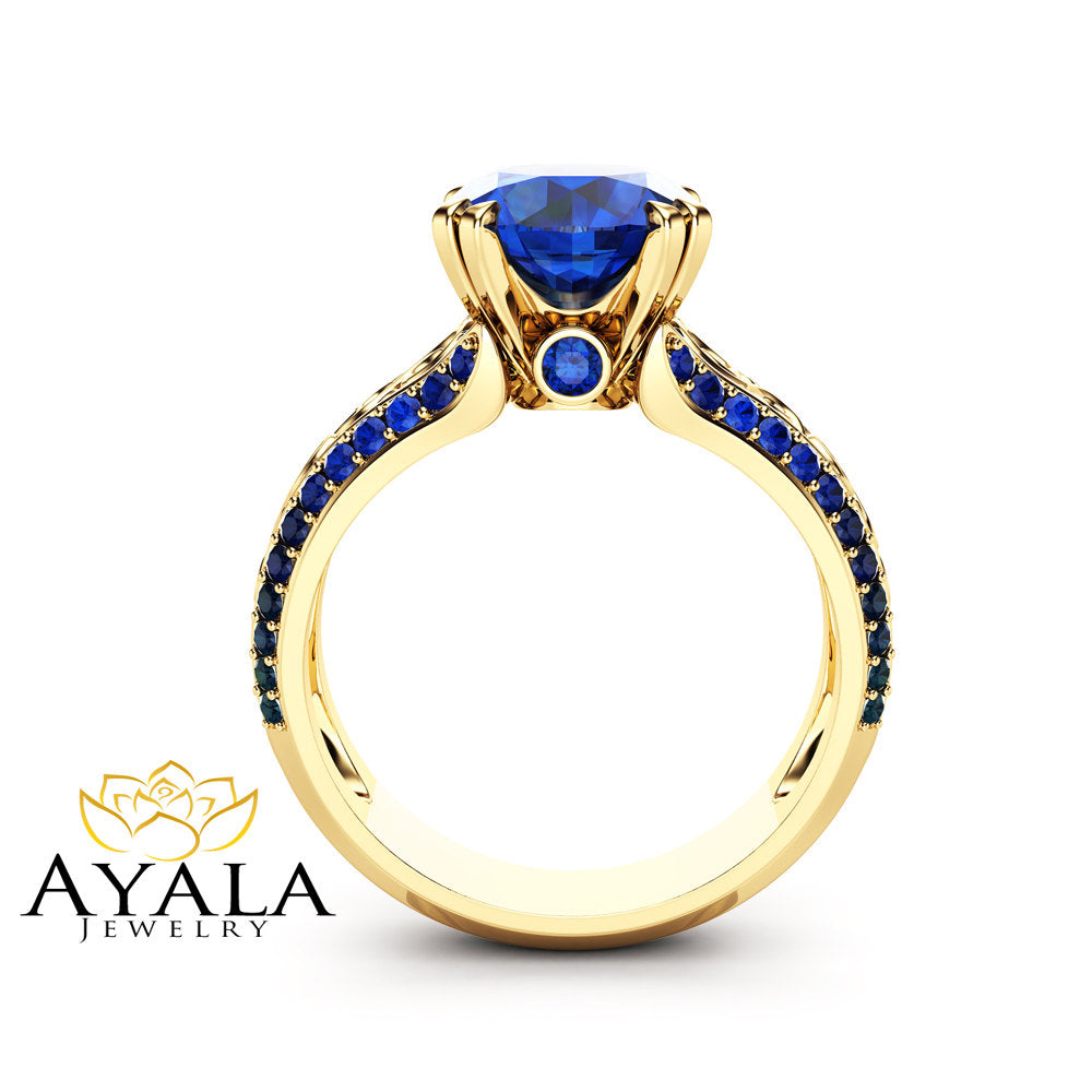 cut halo h setting vs round vintage sphere victorian sapphire gold diamond ring g engagement yellow in blue