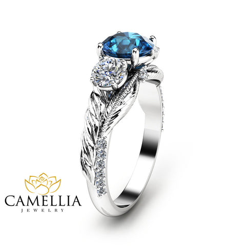 Three Stone London Blue Topaz Ring in 14K White Gold Leaf Engagement Ring Nature Inspired Three Stone Ring Unique Topaz Ring