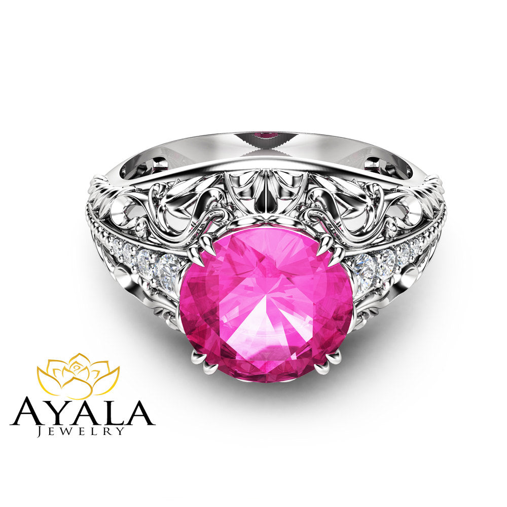 2 Carat Natural Pink Sapphire Engagement Ring in 14K White Gold ...