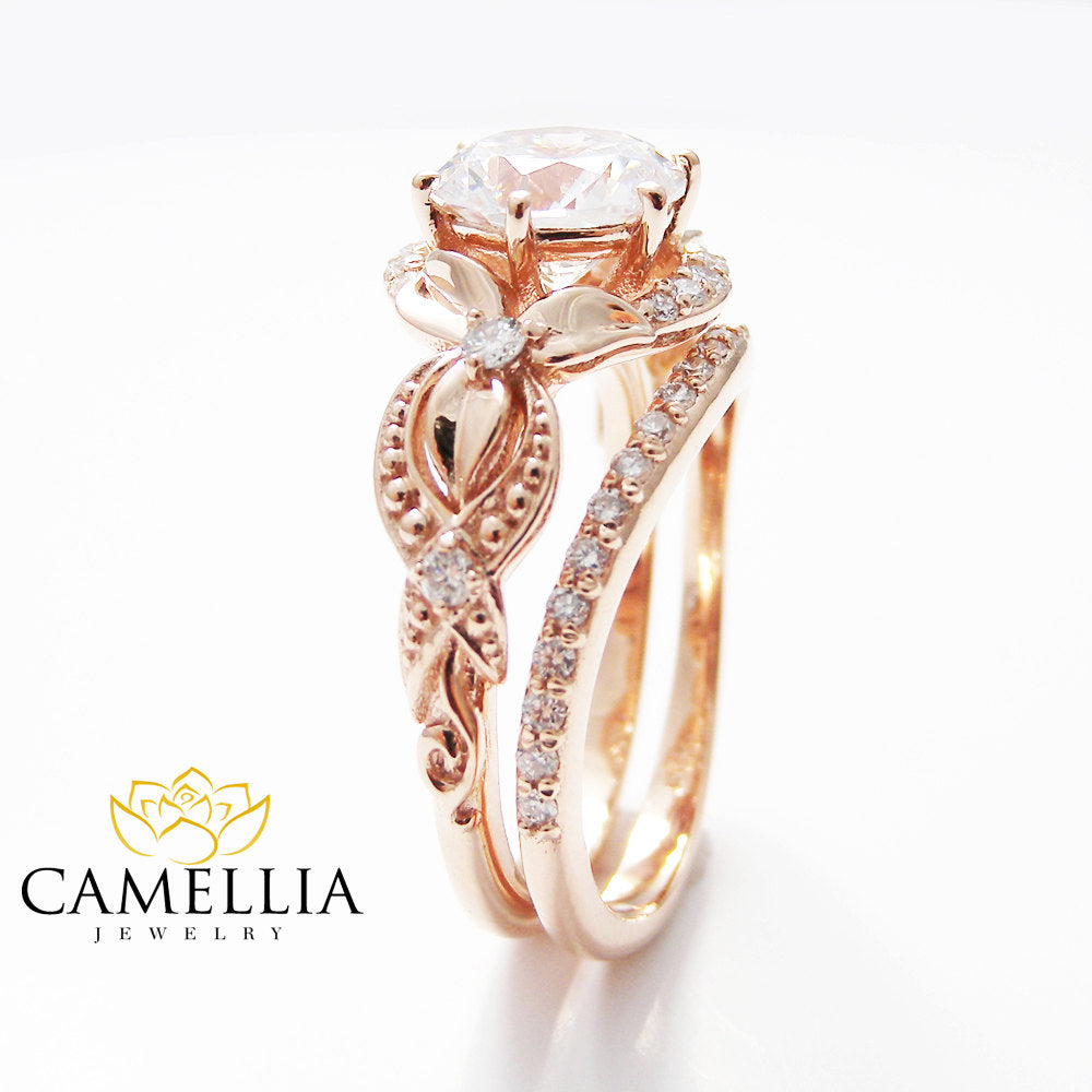 diamond rings flower etsy gold engagement pin camellia rose ring