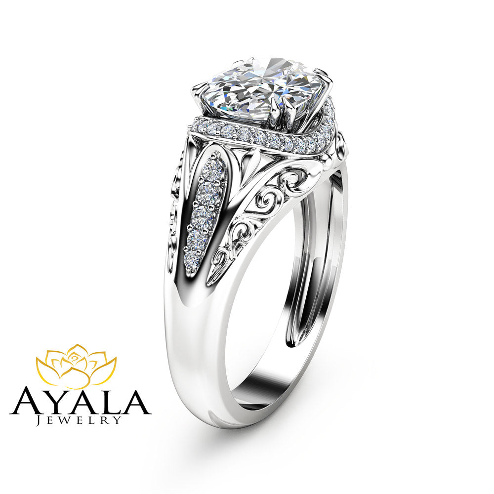 Unique Oval Moissanite Engagement Ring in 14K White Gold Halo Engagement Ring Oval Cut Moissanite Ring Art Deco Styled Ring