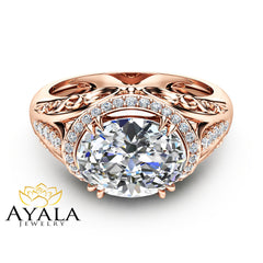 Unique Oval Moissanite Engagement Ring in 14K Rose Gold Halo Engagement Ring Oval Cut Moissanite Ring Art Deco Styled Ring