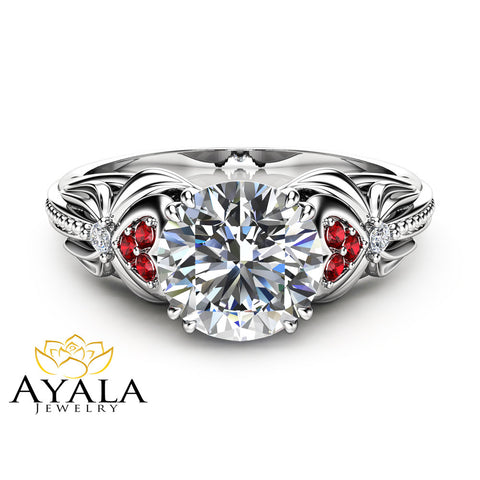 14K White Gold Moissanite Engagement Ring Heart Shaped Ring Unique Moissanite Engagement Ring with Natural Rubies