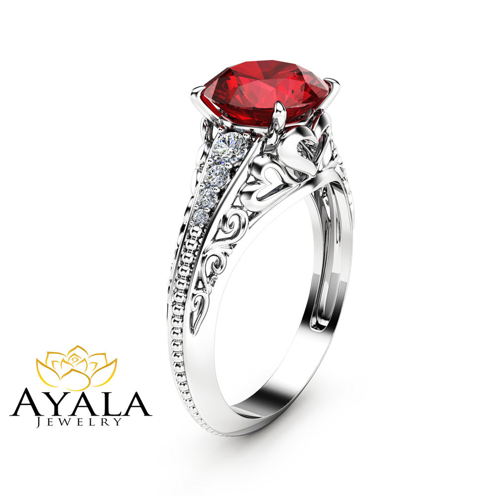2 Carat Natural Ruby Engagement Ring in 14K White Gold Unique Ruby Engagement Ring Art Deco Styled Ring