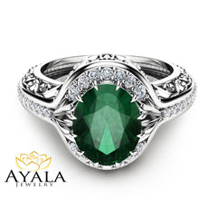 Oval Emerald Ring in 14K White Gold Unique  Halo Ring Oval Cut Emerald Ring Art Deco Styled Ring Cocktail Ring