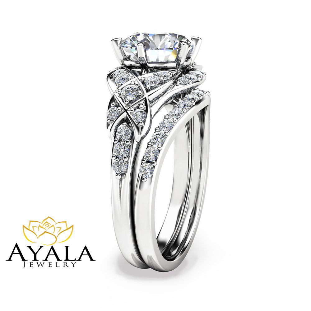 2 Carat Moissanite Wedding Ring Set In 14K White Gold Unique Engagement  Rings Vintage Styled Wedding
