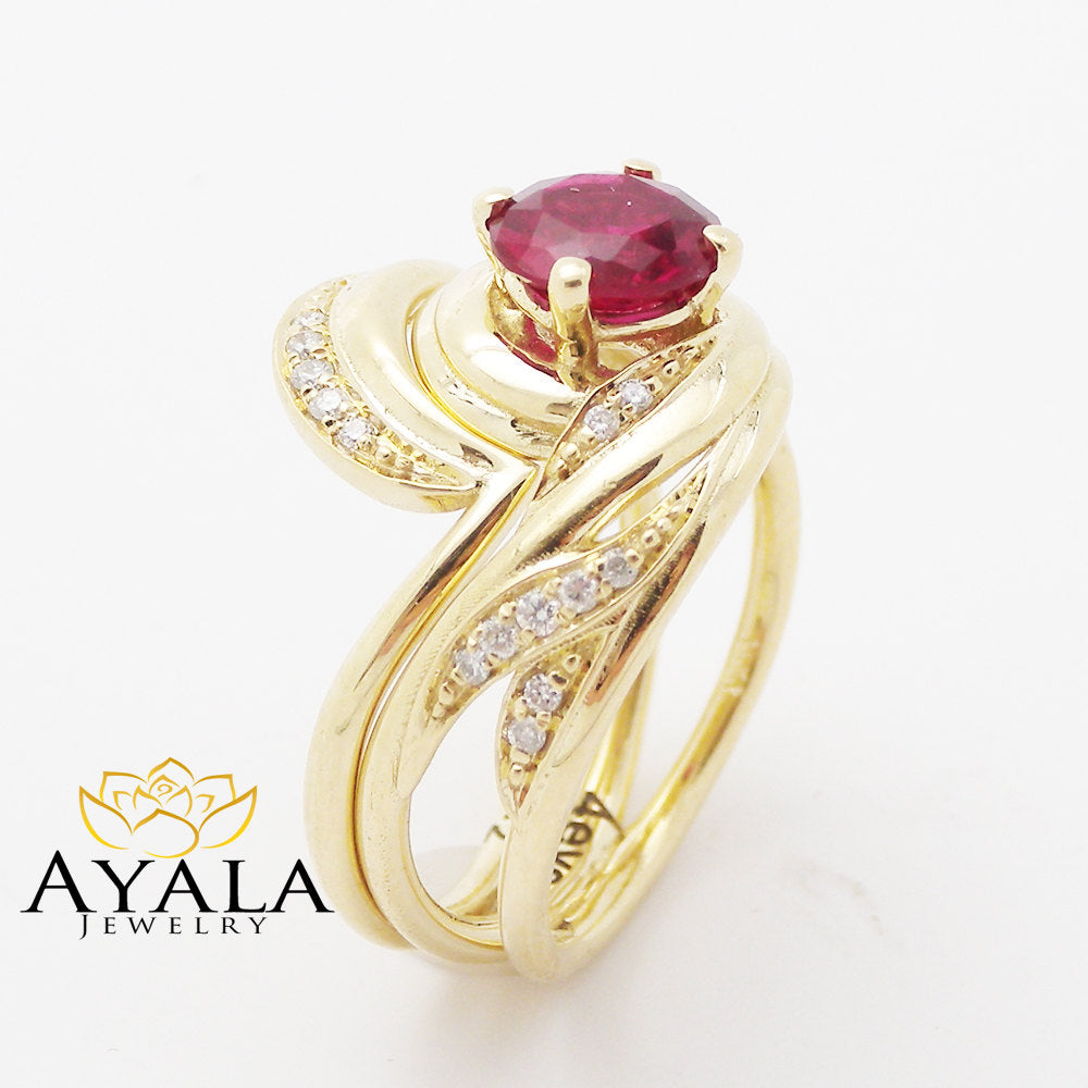 Unique Design Ruby Wedding Ring Set in 14K Yellow Gold Ruby