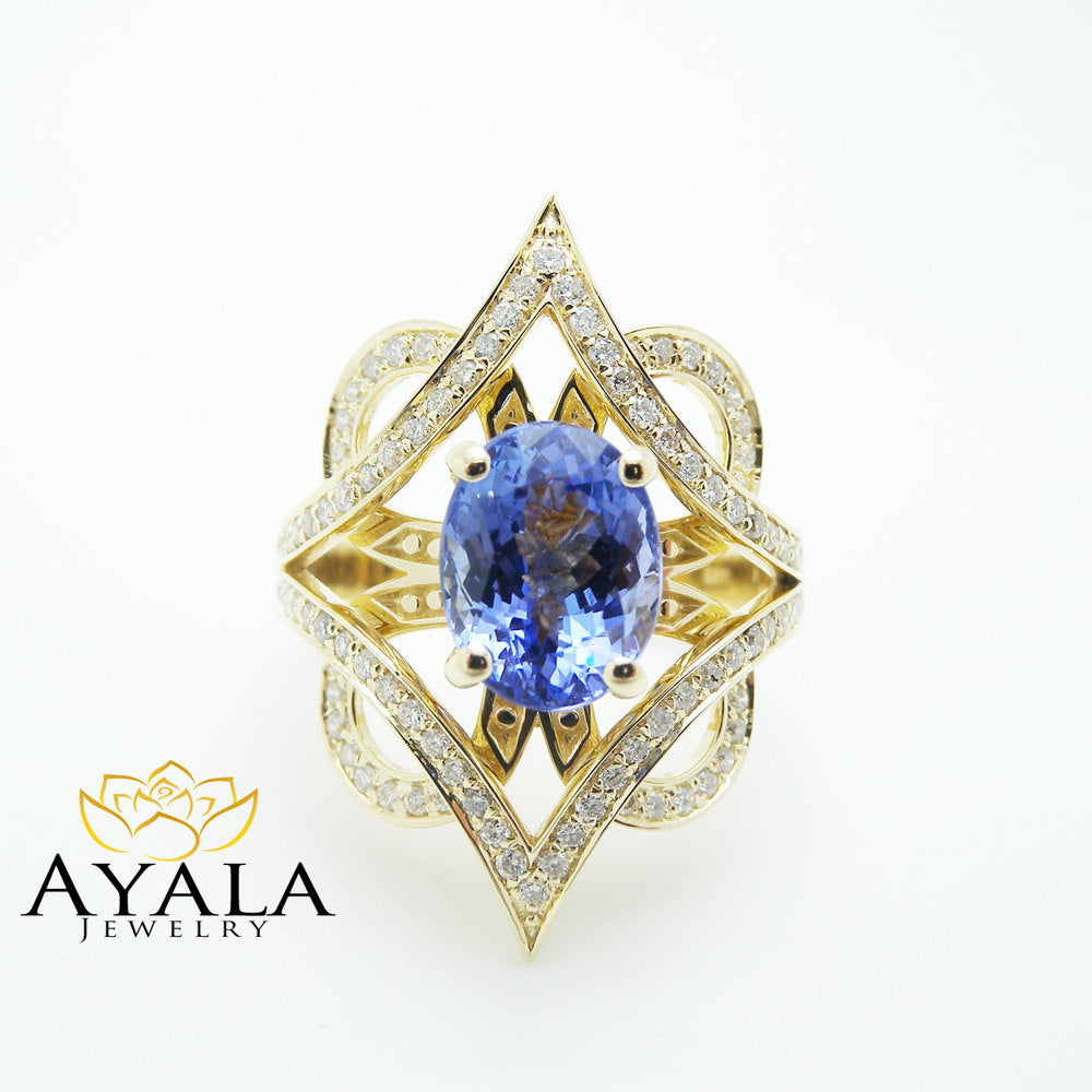 3 Carat Tanzanite Cocktail Ring in 14K Yellow Gold Unique Design ...