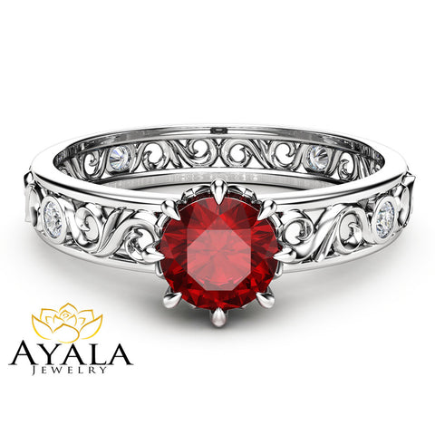 Natural Ruby Engagement Ring Unique  14K White Gold Ruby Ring Filigree Engagement Ring
