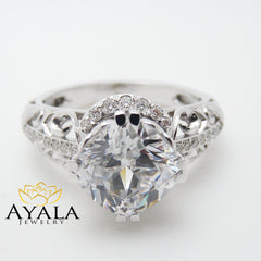 2 Carat Cushion Moissanite Ring in 14K White Gold Unique Engagement Ring Cushion Cut Engagement Ring Art Deco Ring with 2 Carat Moissanite