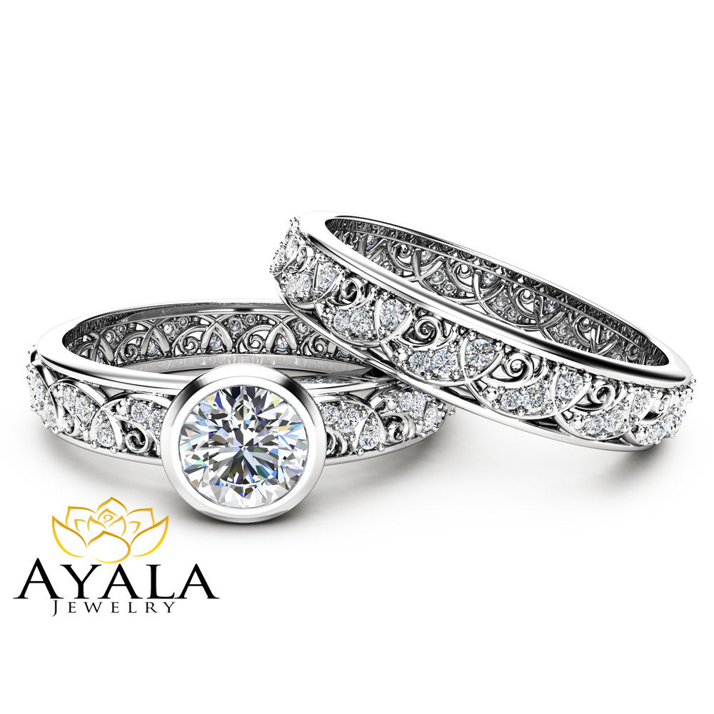 rings engagement bezel ring cut wedding cushion set diamond platum round