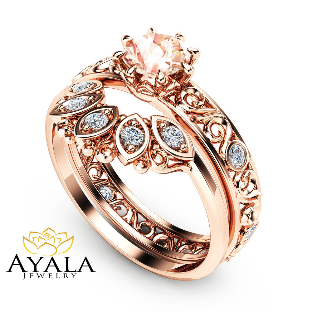 filigree design morganite wedding ring set in 14k rose gold unique peach pink morganite engagement set - Morganite Wedding Ring Set