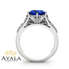 2CT Blue Sapphire Engagement Ring 14K White Gold Sapphire Solitaire Ring Alternative Engagement Ring
